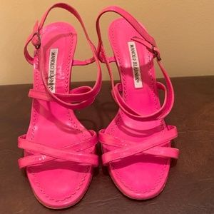 Pink Patent Leather Bayan Strappy Sandals Size